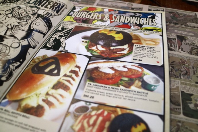 DC Comics Super Heroes Cafe Menu