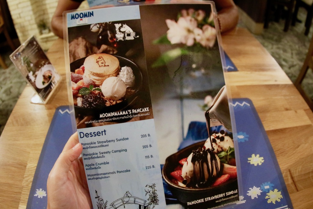 Menu Moomin Cafe Bangkok