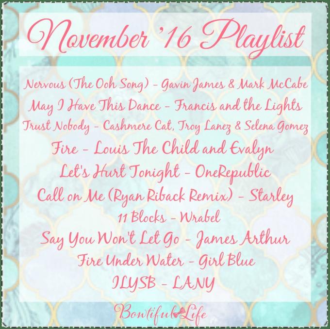 Bowtiful Life Playlist November 2016 www.bowtifullife.com