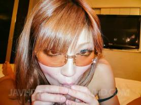 Witness pornography images from video Mariko with sunglasses slurps sack of babymakers and boy rod and rides phallus