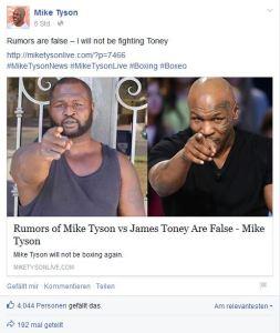 Gerücht Comeback Kampf Mike Tyson