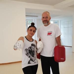 Susi Kentikian mit Trainer Frank Ried