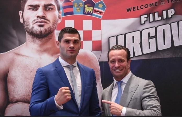 Filip Hrgovic mit seinem neuen Promoter Kalle Sauerland bei einer Pressekonferenz in Zagreb.