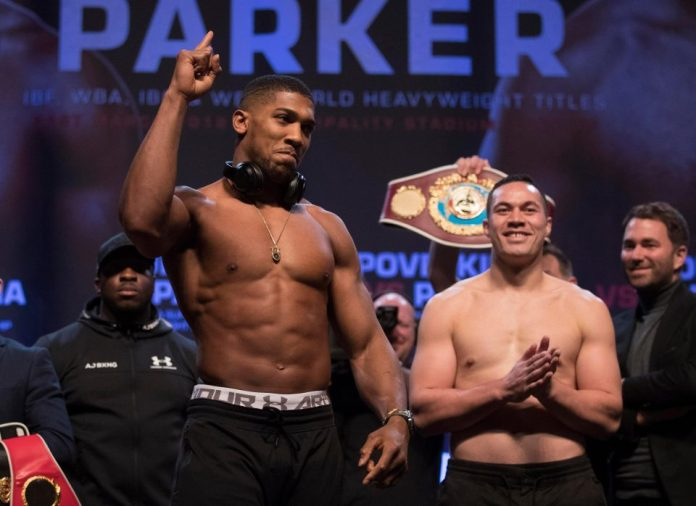 Anthony Joshua vs Parker weigh in