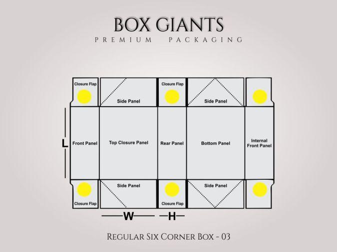 Custom Printed Regular Six Corner Boxes