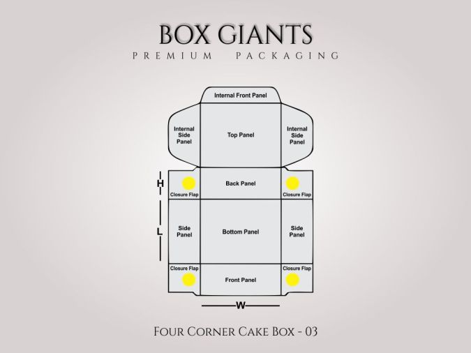 Custom Printed Four Corner Cake Boxes