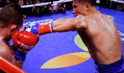 Golovkin vs Rubio - Gennady Golovkin launches a left hook at Marco Antonio Rubio