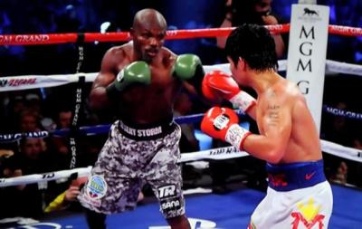 Pacquiao vs Bradley II - Manny Pacquiao and Timothy Bradley fight center ring