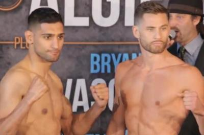 Khan vs Algieri - Amir Khan and Chris Algieri at Brooklyn weigh-in