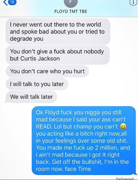 50 Cent Reveals Angry Text Message Mayweather