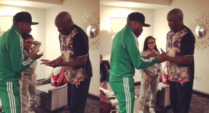 Mayweather and His Dad Battle To See Who Has Faster Hands