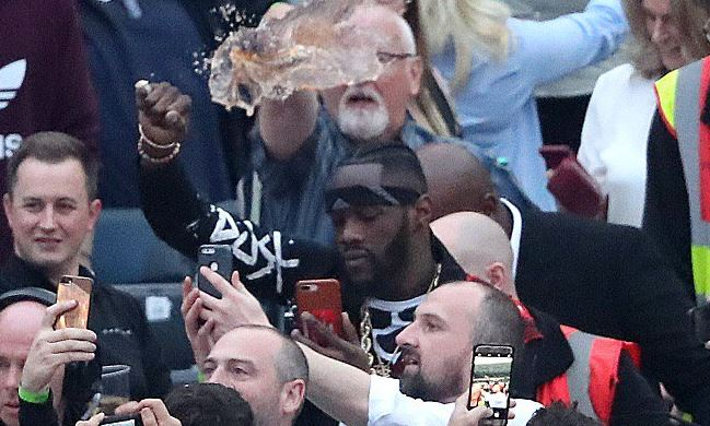 Deontay Wilder Has Pint Of Beer Thrown At Him In Belfast