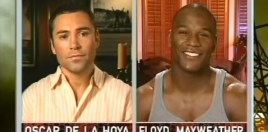 De La Hoya Brings Up Mayweather Domestic Violence History After Cross-Dressing Taunt