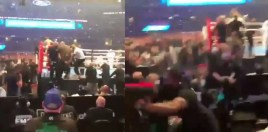 Altercation between Billy Joe Saunders Father and Security After Canelo Fight