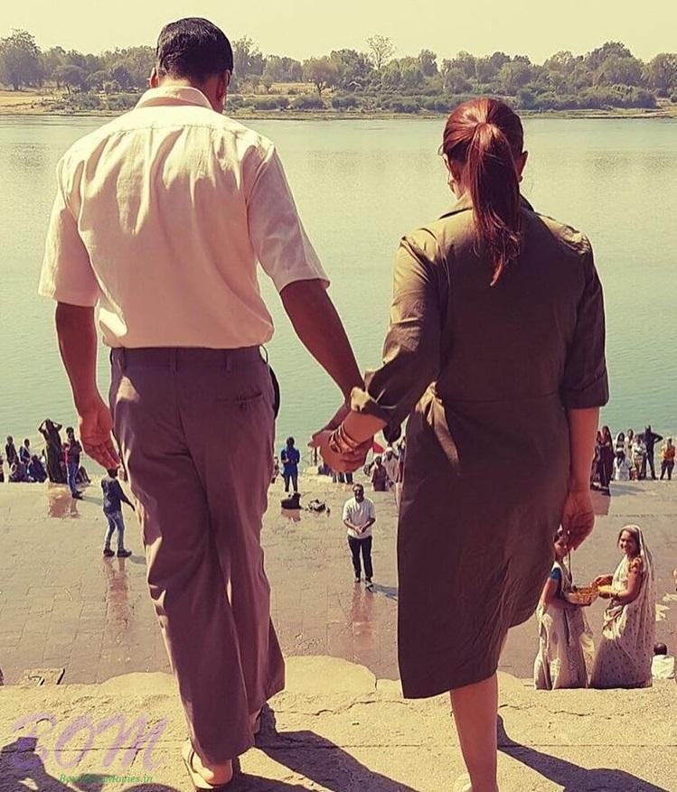 Akshay Kumar with Twinkle Khanna during the first day shooting of PADMAN