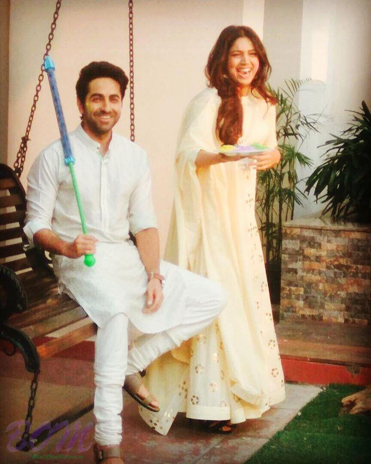 Ayushman Khurana and Bhumi Pednekar during Holi 2017