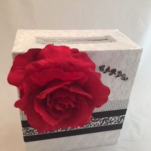 White lace overlay, bling, large red flower, wedding card box