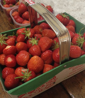 Baskets of freshly-picked strawberries