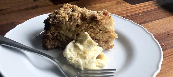 Slice of gooseberry crumble cake