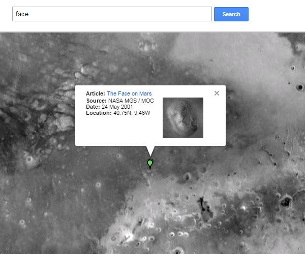 GoogleMarsの人面岩
