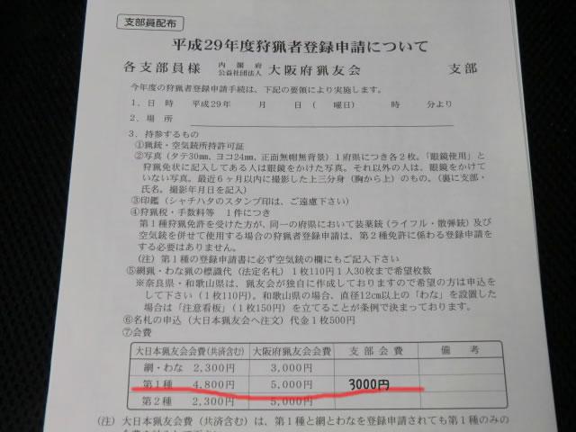 平成29年度狩猟者登録用紙