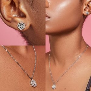 Camellia stainless steel earrings and necklace set