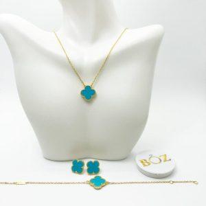 Unique Clover Pure Sterling Silver Necklace, Earrings & Bracelet Set