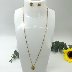 Camellia Gold Plated Stainless Steel Necklace And Earrings Set