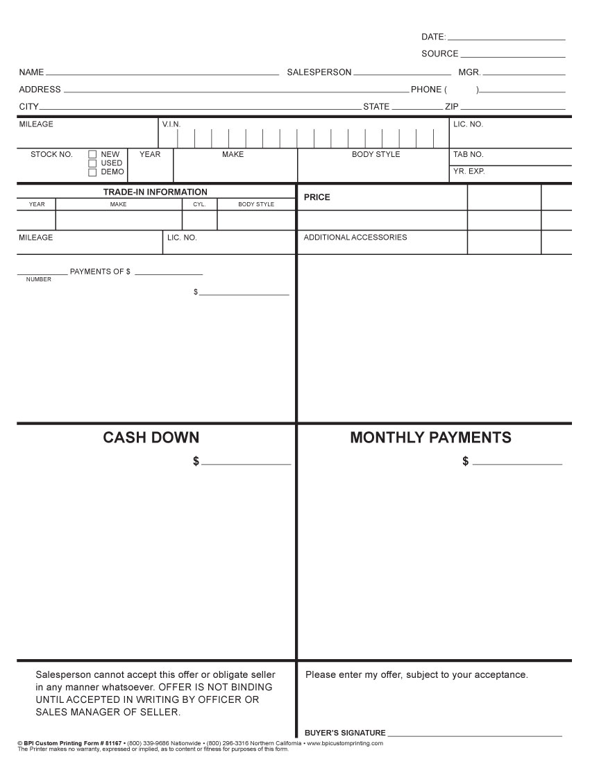 4 Square Worksheet BPI Dealer Supplies