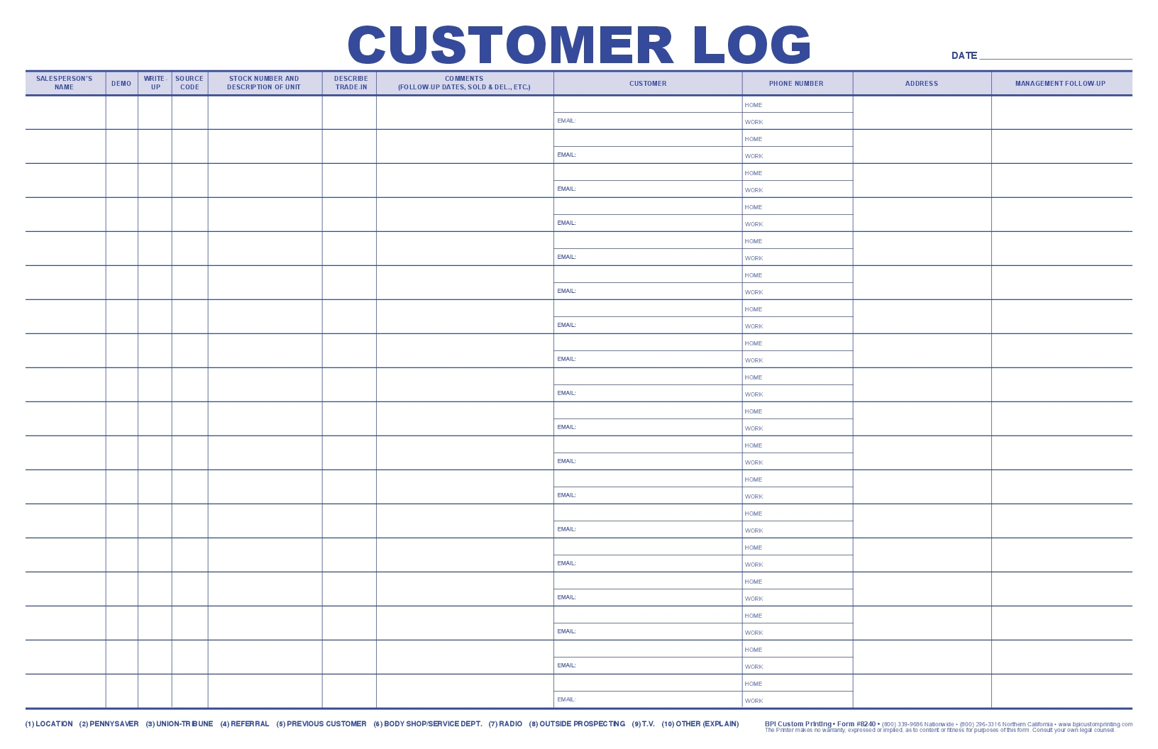 Jumbo Customer Log Bpi Custom Printing