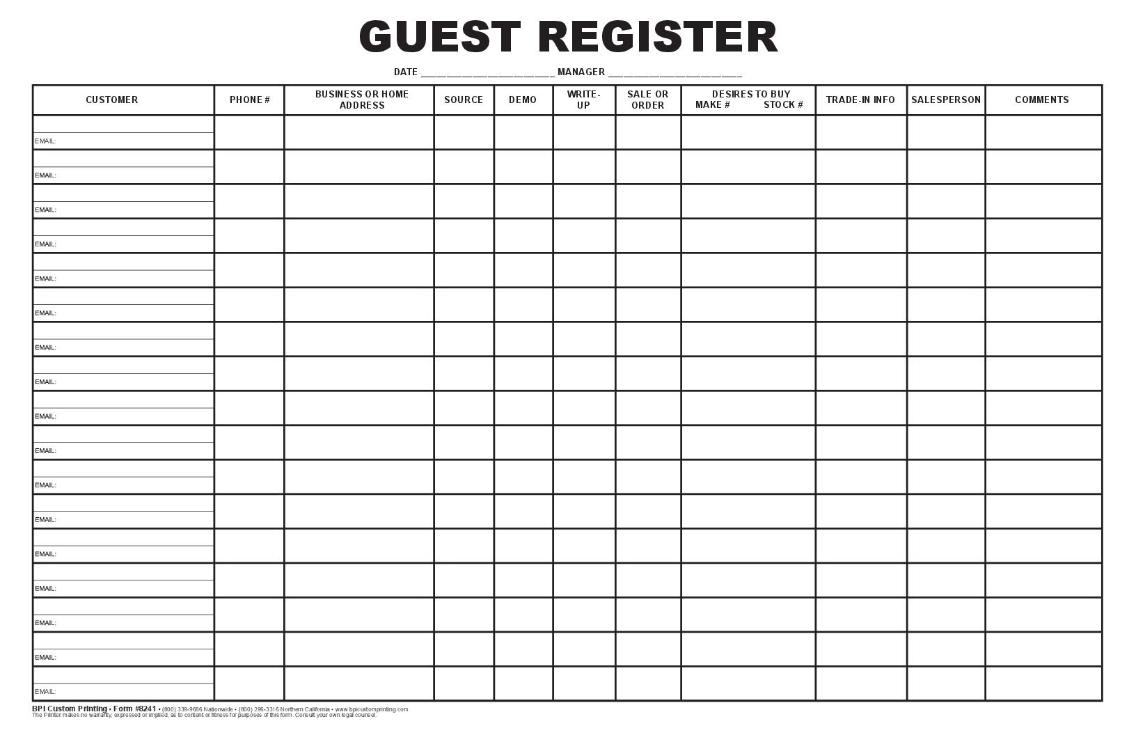 Guest Register Log