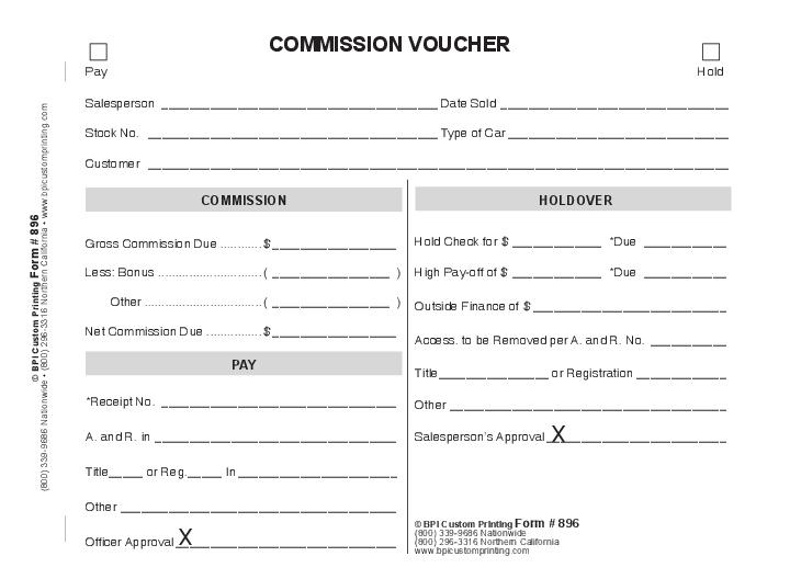 commission payout template - commission voucher 4 part bpi dealer supplies