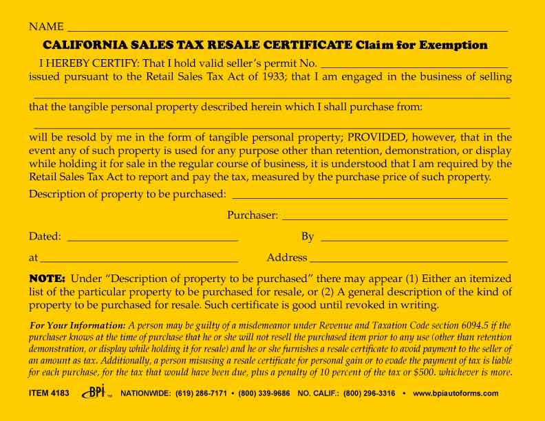 California Sales Tax Resale Certificate - BPI Dealer Supplies