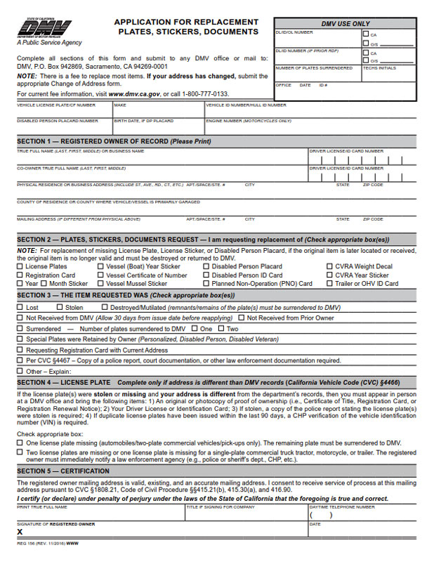 application for replacement plates, stickers, & documents - bpi