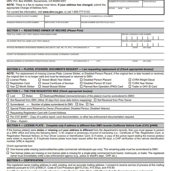 Application For Replacement Plates Stickers Documents BPI – Dmv Change of Address Forms