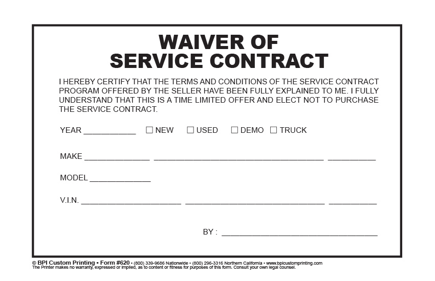 Waiver Of Service Contract - Bpi Custom Printing