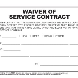 Waiver of Service Contract