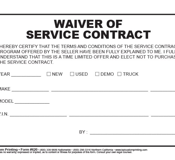 Waiver Of Service Contract  Bpi Custom Printing