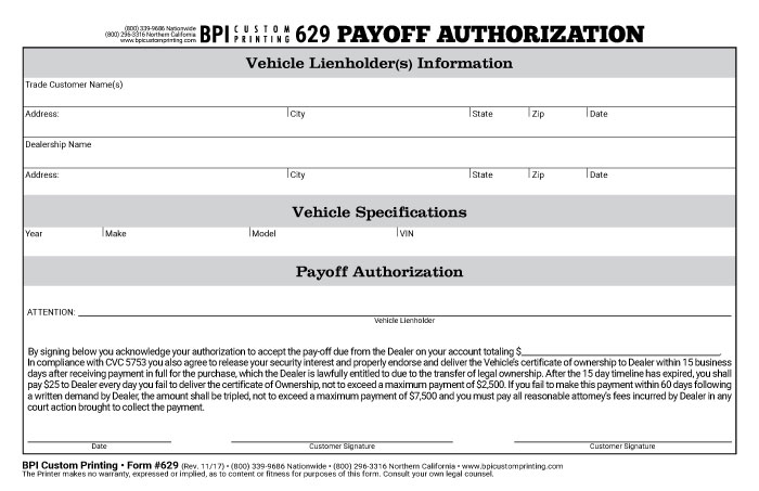 authorization for payoff Authorization for Payoff - BPI Dealer Supplies