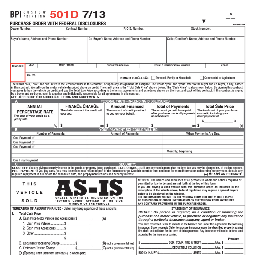 501D Vehicle Purchase Order - Bpi Custom Printing