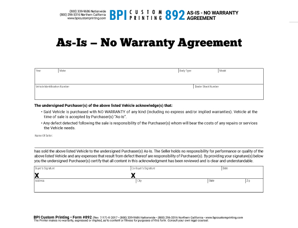 As Is No Warranty Agreement Bpi Dealer Supplies