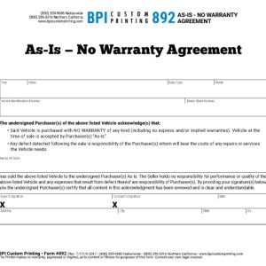 As Is No Warranty Agreement