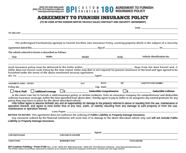 Out Of State Agreement To Furnish Insurance Bpi Dealer Supplies
