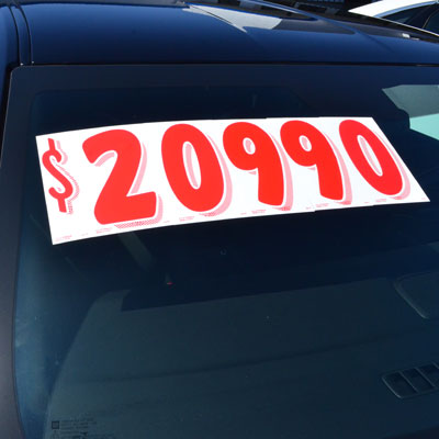 Red and White Number Windshield Stickers