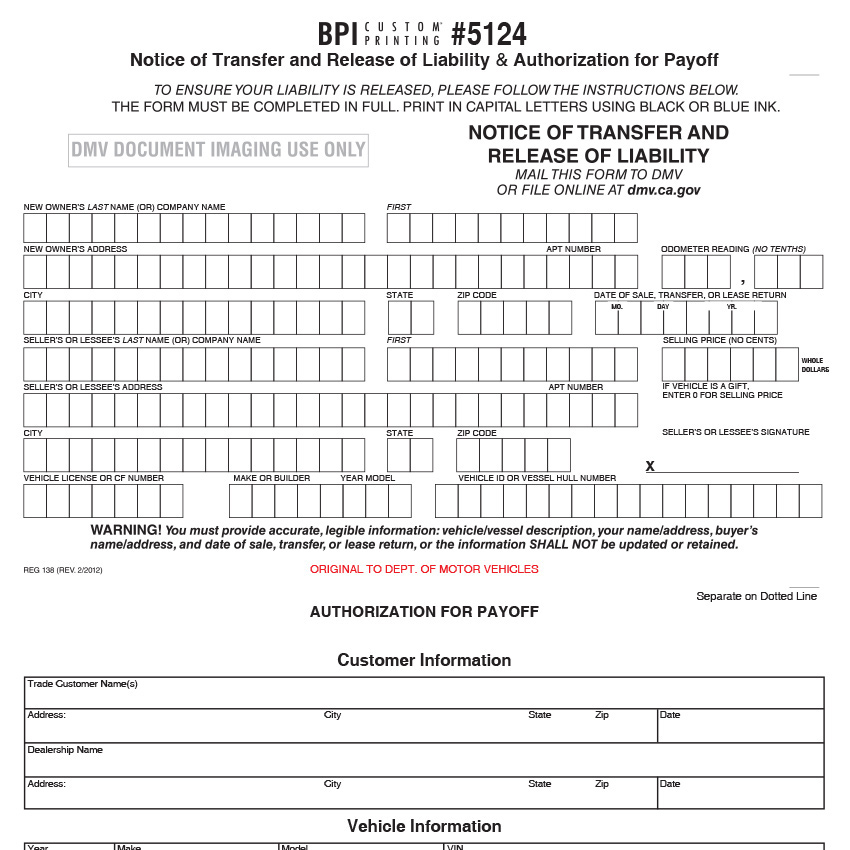 Notice Of Transfer And Release Of Liability  Bpi Dealer Supplies