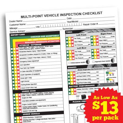 Multi Point Inspection Checklist BPI Dealer Supplies