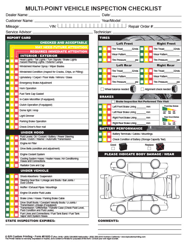 Multi point inspection checklist bpi dealer supplies for Motor vehicle record check