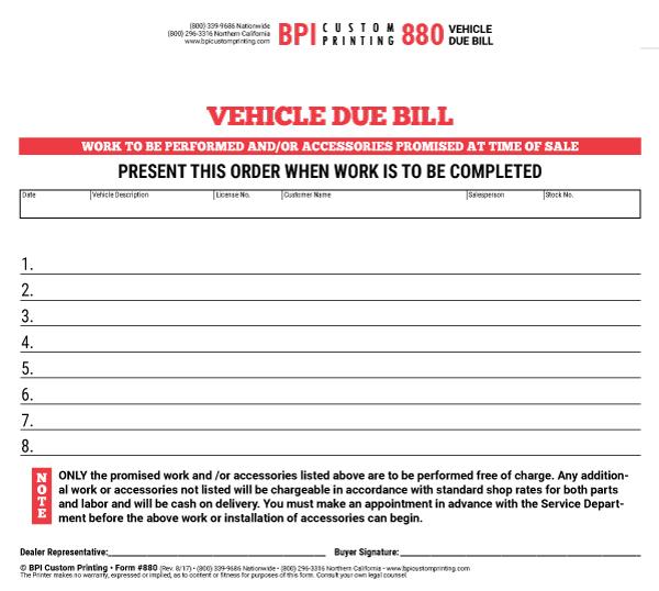 BPI Dealer Supplies 4-Part Due Bill