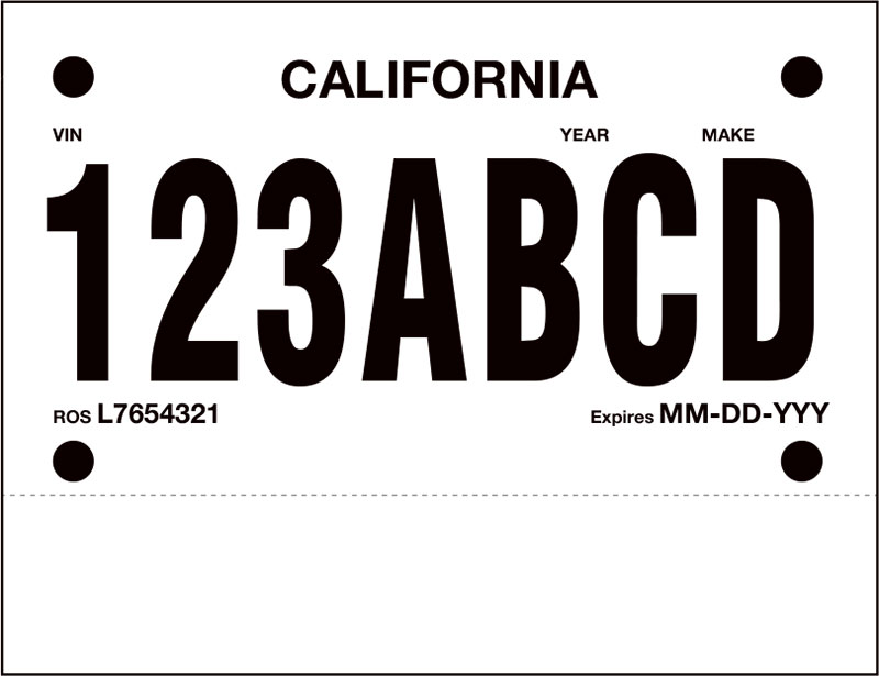 picture regarding Printable Temporary License Plate Template named Poliprint One Perf Momentary License Plate Paper