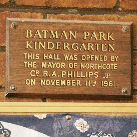 Opening Plaque at Batman Park Kindergarten